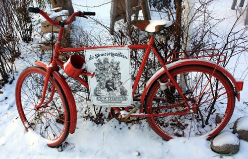 Fahrrad im Schnee Warnemünde 2009