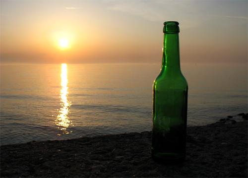 Flasche Ostsee Meer Warnemünde 2008