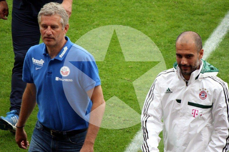 Andreas Bergmann und Pep Guadiola, zwei zufriedene Trainer nach dem Schlusspfiff...