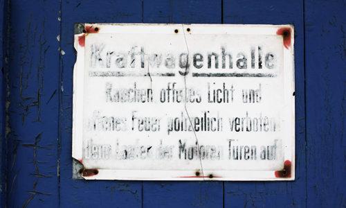 Kraftwagenhalle Schild Garage 2011