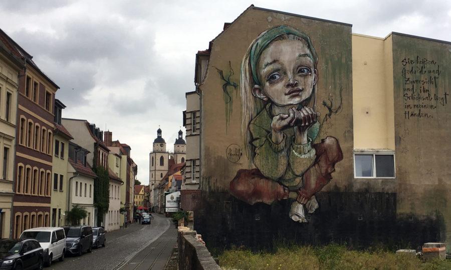 Herakut-Mural in der Lutherstadt Wittenberg
