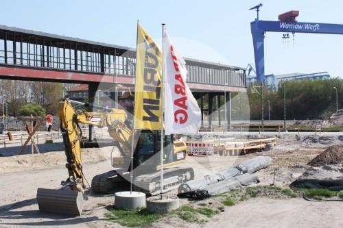 Die Baustelle Nordkreuz in Warnemünde.