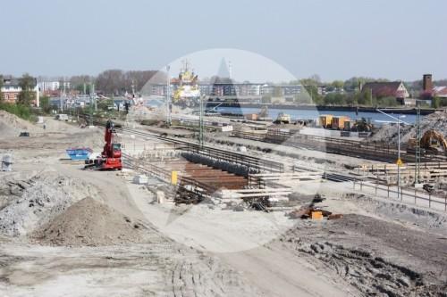 Das gesamte Baufeld Richtung Kreuzfahrtliegeplatz.