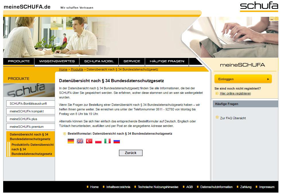 Schufa kostenlos beantragen. Screenshot: meineSchufa.de